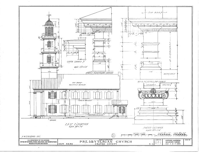HABS NC,25-NEBER,1- (sheet 3 of 5) - First Presbyterian Church, New & Middle Streets, New Bern, Craven County, NC