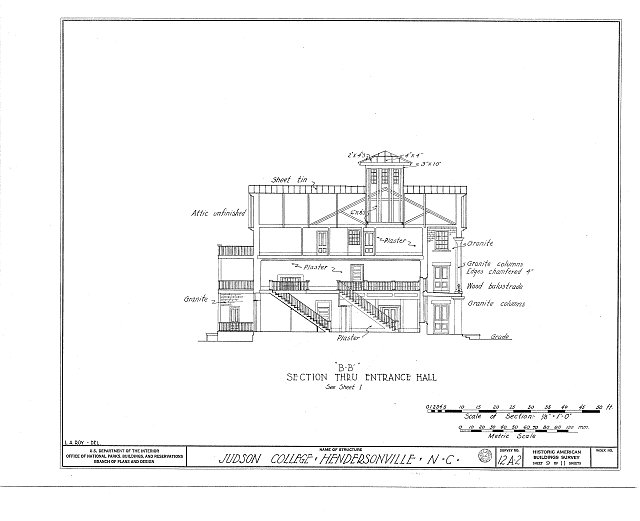 HABS NC,45-HENVI,1- (sheet 9 of 11) - Judson College, Third Avenue & West Flemming Street, Hendersonville, Henderson County, NC