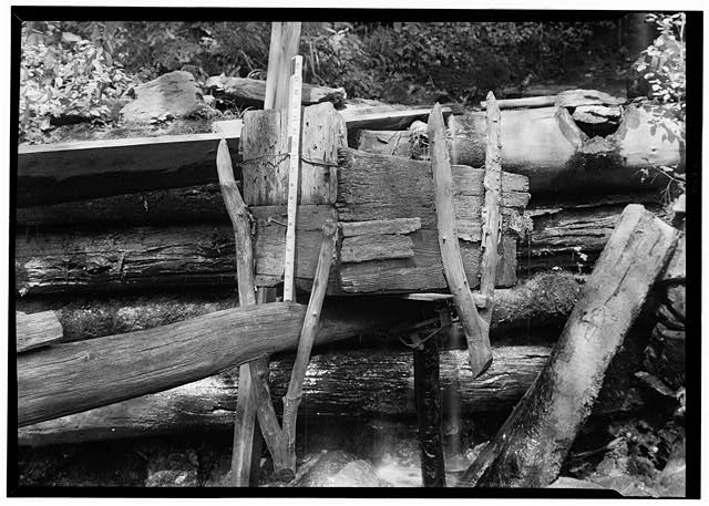 7.  Historic American Buildings Survey, Edouard E. Exline, Photographer September 22, 1935 DETAIL OF BUCKET. - Pounding Mill, Pioneer Museum, Route 441 (moved from Deep Creek), Cherokee, Swain County, NC
