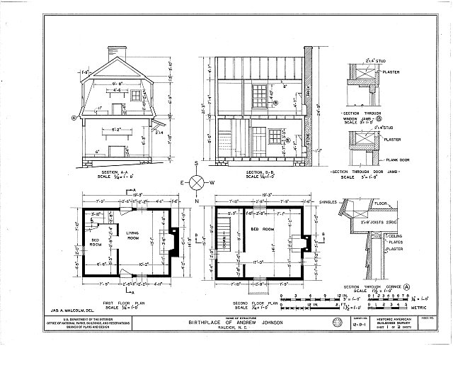 HABS NC,92-RAL,1- (sheet 1 of 2) - Andrew Johnson Birthplace, Mordecai Place (moved from 123 Fayetteville Street), Raleigh, Wake County, NC