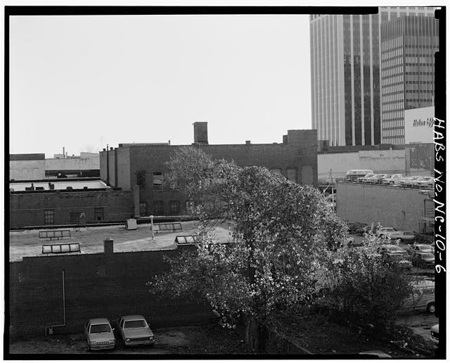 6.  View from northeast showing rear facade and east party wall - Barber-Towler Building (Commercial Building), 123 East Martin Street, Raleigh, Wake County, NC