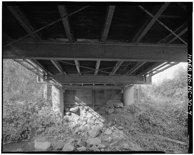 4.  VIEW FROM UNDERNEATH BRIDGE - North Carolina Route 2408 Bridge, Spanning Bull Creek, Asheville, Buncombe County, NC