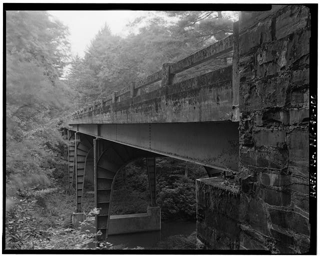 100.  Pine Creek Bridge #7. Built in 1937, This was the earliest steel girder bridge built on the parkway. Looking east-northeast. - Blue Ridge Parkway, Between Shenandoah National Park & Great Smoky Mountains, Asheville, Buncombe County, NC