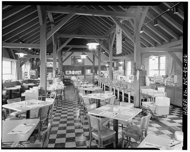 106.  Doughton Park Recreation Area concession building. Interior view of the coffee shop built in 1948. Facing west. - Blue Ridge Parkway, Between Shenandoah National Park & Great Smoky Mountains, Asheville, Buncombe County, NC