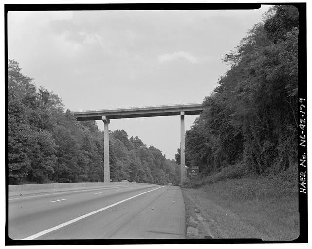 179.  Interstate Route 26 Viaduct. This steel girder viaduct, built in 1966, is typical of many highway structures except for the height of its piers. Looking south-southeast. - Blue Ridge Parkway, Between Shenandoah National Park & Great Smoky Mountains, Asheville, Buncombe County, NC