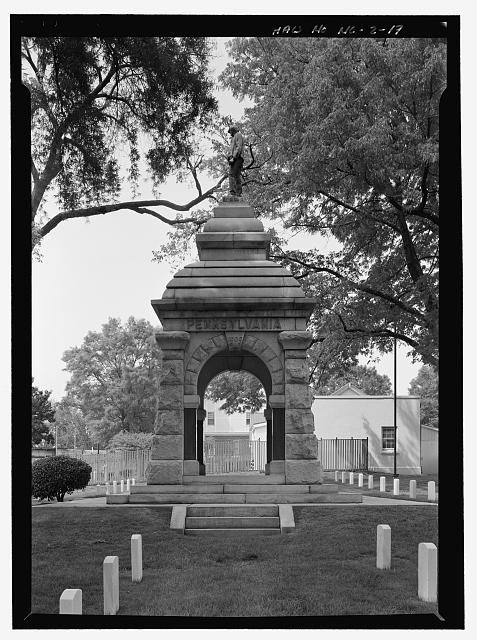 PENNSYLVANIA MONUMENT, SECTION C, SOUTH SIDE ELEVATION.  VIEW TO NORTH.  - Salisbury National Cemetery, 202 Government Road, Salisbury, Rowan County, NC