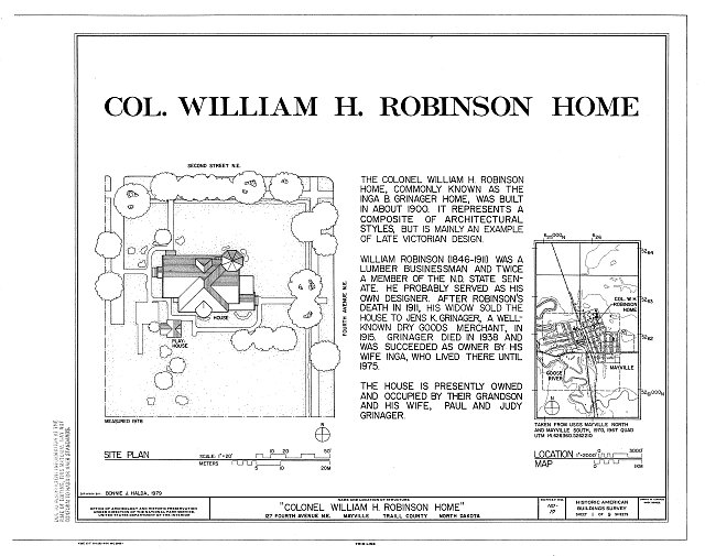 HABS ND,49-MAYV,1- (sheet 1 of 9) - William H. Robinson House, 127 Fourth Avenue Northeast, Mayville, Traill County, ND