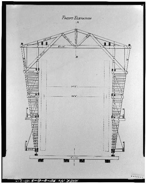 5.  Photocopy from George S. Morison's The Bismark Bridge, 1883. FRONT ELEVATION OF WOODEN TRAVELER - Bismarck Bridge, Spanning Missouri River, Bismarck, Burleigh County, ND