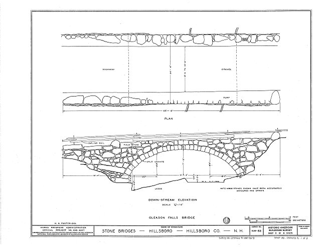 HABS NH,6-HILL.V,1D- (sheet 1 of 2) - Gleason Falls Bridge, Spanning Beard Brook, Hillsboro, Hillsborough County, NH