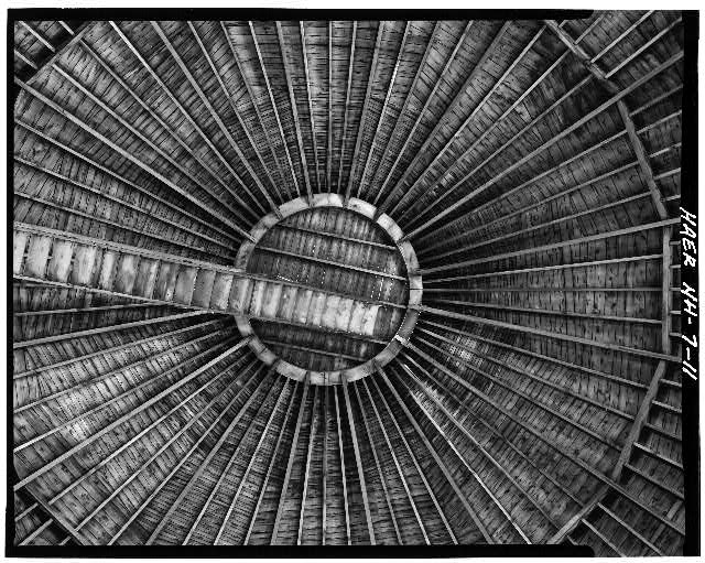 11.  Interior view of roof looking up to cupola. - Concord Gas Light Company, Gasholder House, South Main Street, Concord, Merrimack County, NH