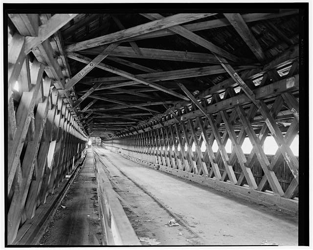 3.  Historical American Buildings Survey L. C. Durette, Photographer May 14, 1936 INTERIOR VIEW TOWARD FAIRLEE - Covered Bridge, Spanning Connecticut River, Orford, Grafton County, NH