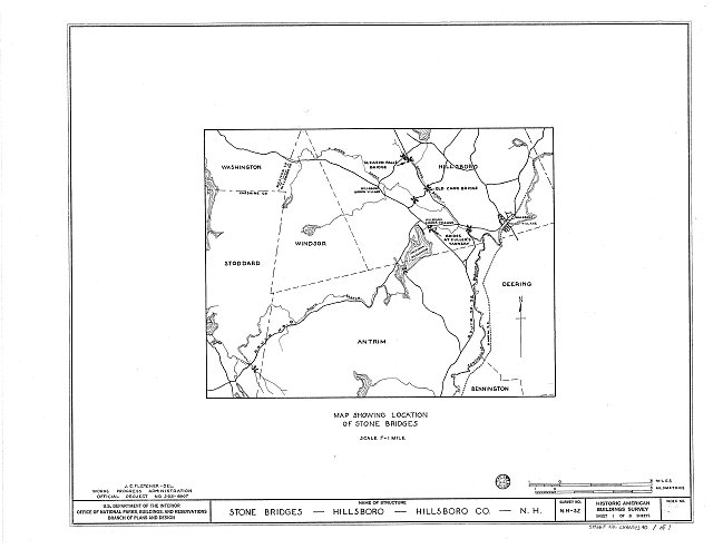 HABS NH,6-HILL.V,1- (sheet 1 of 1) - Stone Bridges (Map), Hillsboro, Hillsborough County, NH