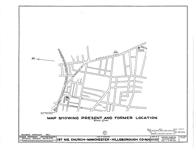 HABS NH,6-MANCH,1- (sheet 1 of 16) - First Methodist Episcopal Church, Valley & Jewett Streets (moved from NH, Derryville), Manchester, Hillsborough County, NH