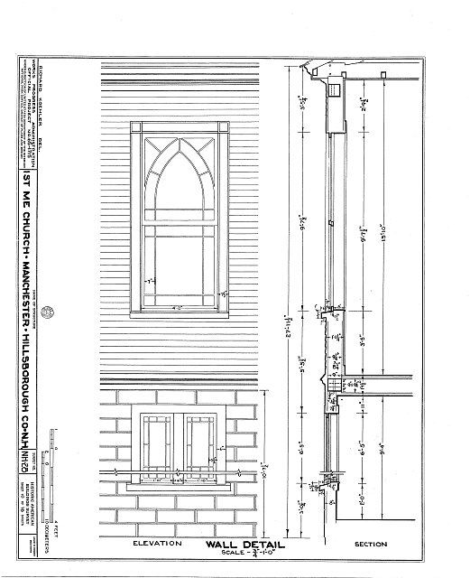 HABS NH,6-MANCH,1- (sheet 10 of 16) - First Methodist Episcopal Church, Valley & Jewett Streets (moved from NH, Derryville), Manchester, Hillsborough County, NH