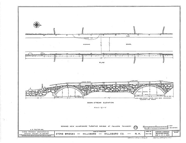 HABS NH,6-HILL.V,1A- (sheet 1 of 2) - Second New Hampshire Turnpike Bridge, Fullers Tannery, Hillsboro, Hillsborough County, NH