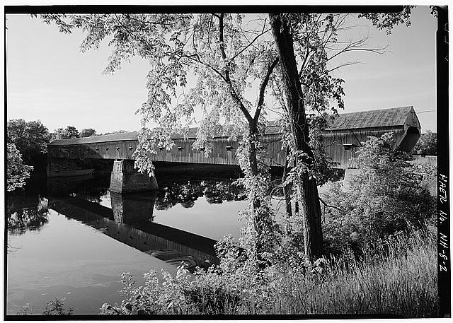 2.  GENERAL 3/4 ELEVATION VIEW, LOOKING NORTHWEST, FROM NEW HAMPSHIRE SIDE OF RIVER - Cornish-Windsor Covered Bridge, Spanning Connecticut River between Cornish, NH, & Windsor, VT, Cornish City, Sullivan County, NH