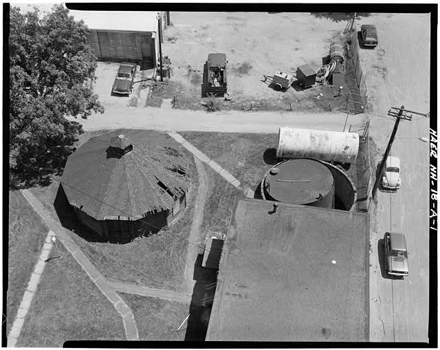 1.  BIRDSEYE VIEW OF OIL TANK STORAGE BUILDING FROM TOP OF 1922 GASHOLDER - Concord Gas Light Company, Oil Tank Storage Building, South Main Street, Concord, Merrimack County, NH
