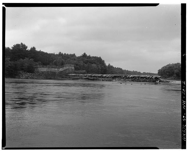 2.  View northwest and upstream, west end of spillway - Sewall's Falls Hydroelectric Facility, East end of Second Street spanning Merrimack River, Concord, Merrimack County, NH