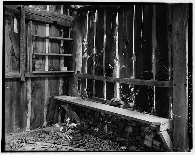 6.  Interior, detail of bench and shelves - Harvey L. White Farm, Sap House, East side of Route 202, approximately 600 feet north of Hillsborough-Antrim town line, Hillsboro, Hillsborough County, NH