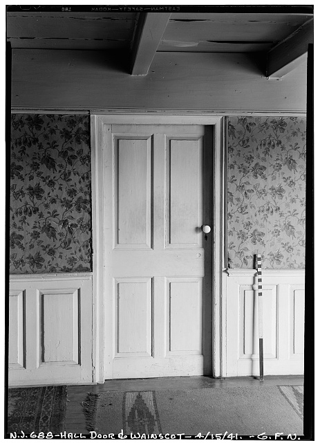 4.  Historic American Buildings Survey George Neuschafer, Photographer April 15, 1941 INTERIOR - HALL DOOR & WAINSCOT - Daniel Dood House, 339 Franklin Street, Bloomfield, Essex County, NJ