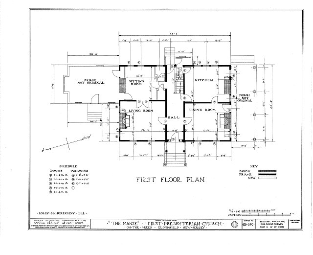 HABS NJ,7-BLOFI,2- (sheet 2 of 17) - First Presbyterian Church on-the-Green, The Manse, Bloomfield, Essex County, NJ