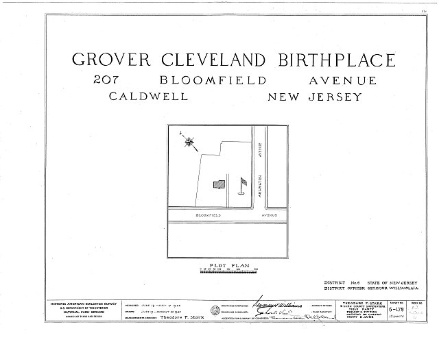 HABS NJ,7-CALD,2- (sheet 0 of 12) - Grover Cleveland Birthplace, 207 Bloomfield Avenue, Caldwell, Essex County, NJ