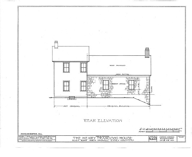 HABS NJ,7-CALDN,1- (sheet 6 of 12) - Henry Francisco House, Allen Road, North Caldwell, Essex County, NJ