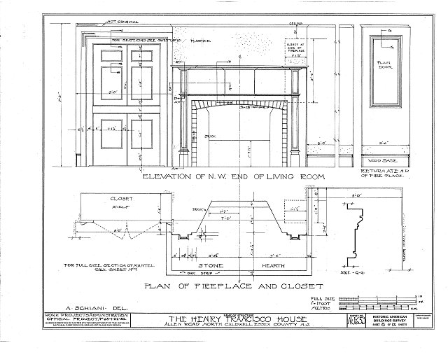 HABS NJ,7-CALDN,1- (sheet 8 of 12) - Henry Francisco House, Allen Road, North Caldwell, Essex County, NJ