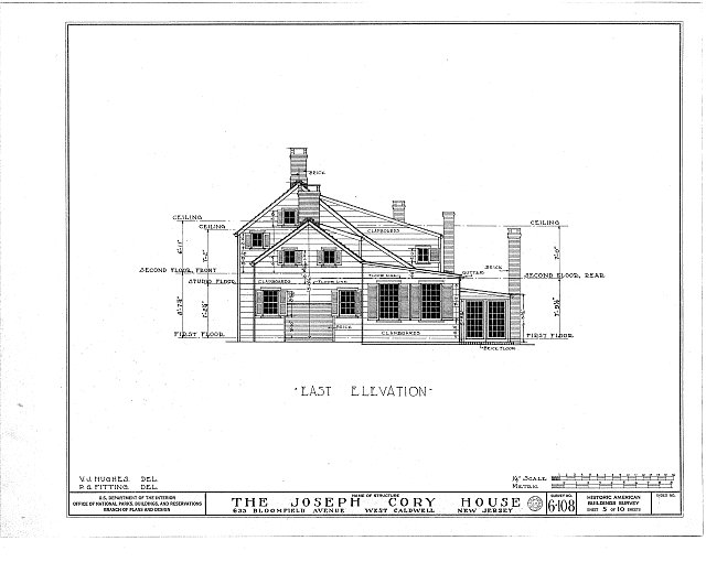 HABS NJ,7-CALDW,1- (sheet 5 of 10) - Lane-Cory House, 633 Bloomfield Avenue, West Caldwell, Essex County, NJ