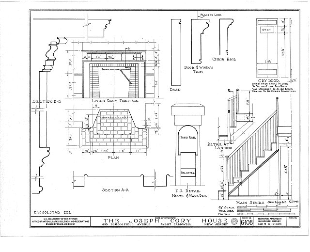 HABS NJ,7-CALDW,1- (sheet 9 of 10) - Lane-Cory House, 633 Bloomfield Avenue, West Caldwell, Essex County, NJ
