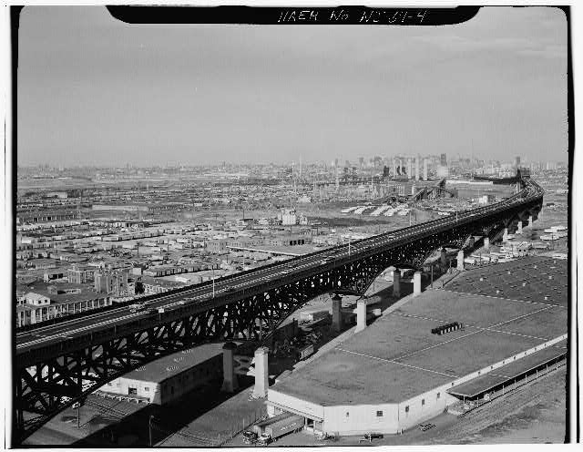 4.  GENERAL VIEW OF DECK TRUSS VIADUCT BETWEEN PASSAIC AND HACKENSACK RIVERS - Pulaski Skyway, Spanning Passaic & Hackensack Rivers, Jersey City, Hudson County, NJ