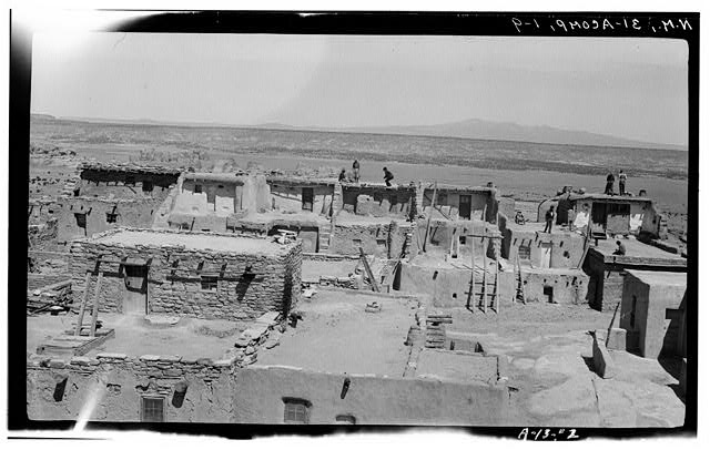 9.  Historic American Buildings Survey M. James Slack, Photographer, April 12, 1934 BLOCK NO. 1 FROM BLOCK NO. 5 (SHOWING KIVA RIGHT CENTER) - Pueblo of Acoma, Casa Blanca vicinity, Acoma Pueblo, Cibola County, NM