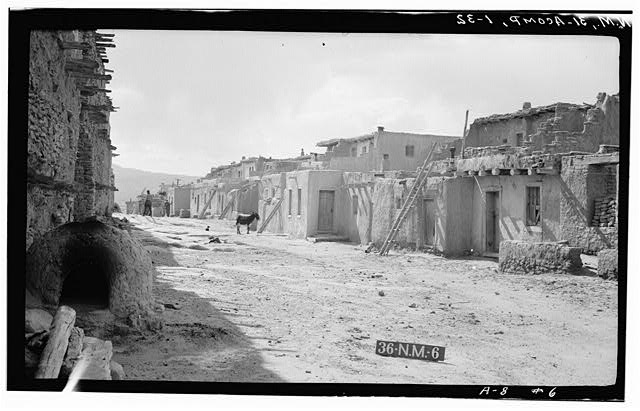 32.  Historic American Buildings Survey M. James Slack, Photographer, April 12, 1934 BLOCK NO. 3 FROM SOUTHEAST (STARTING WITH HOUSE NO. 6) - Pueblo of Acoma, Casa Blanca vicinity, Acoma Pueblo, Cibola County, NM