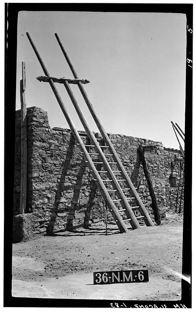 83.  Historic American Buildings Survey M. James Slack, Photographer, April 17, 1934 DETAIL KIVA LADDER - Pueblo of Acoma, Casa Blanca vicinity, Acoma Pueblo, Cibola County, NM