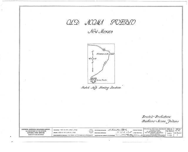 HABS NM,31-ACOMP,1- (sheet 0 of 83) - Pueblo of Acoma, Casa Blanca vicinity, Acoma Pueblo, Cibola County, NM