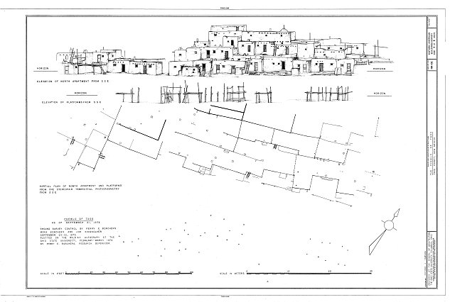 Elevation and Partial Plan of North Apartment - Pueblo of Taos Central Portion, Taos Pueblo, Taos County, NM