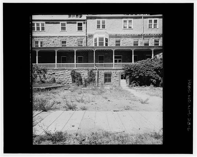 6.  CENTRAL PORTION OF SOUTH ELEVATION FROM SOUTH TERRACE Copy photograph of photogrammetric plate LC-HABS-GS01-B-1976-407R. - Montezuma Hotel, Gallinas Canyon, Las Vegas, San Miguel County, NM