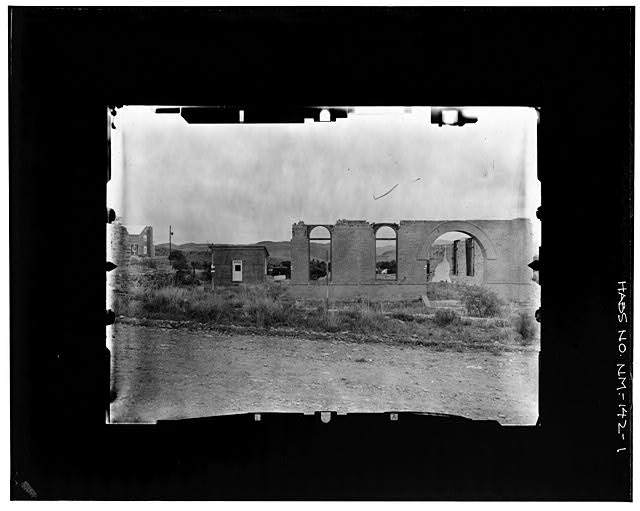 1.  RUINS OF OLD COURTHOUSE SEEN FROM THE EAST Copy photograph of photogrammetric plate LC-HABS-GS05-B-1976-801R. - Town of Hillsboro, Hillsboro, Sierra County, NM