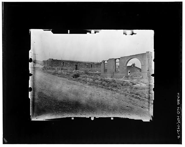 2.  RUINS OF OLD COURTHOUSE AND JAIL SEEN FROM THE NE Copy photograph of photogrammetric plate LC-HABS-GS05-B-1976-802R. - Town of Hillsboro, Hillsboro, Sierra County, NM