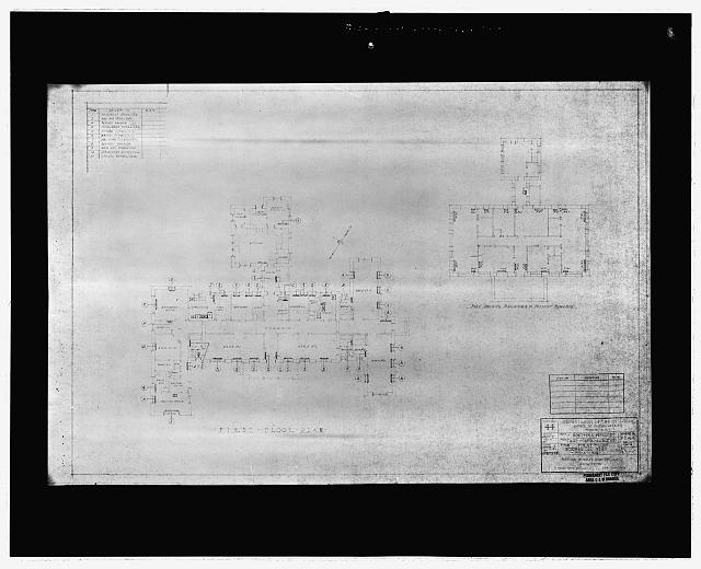 16 Photocopy of architectural drawing (from Albuquerque Area Indian Health Service, Division of Health Facilities, Albuquerque, New Mexico) Mayers Murray, and Phillip, Architects, New York, NY, 1934 first floor mechanical plan - heating - Taos Indian Health Center, 0.3 mile south-southwest of Pueblos Plaza, Taos Pueblo, Taos County, NM