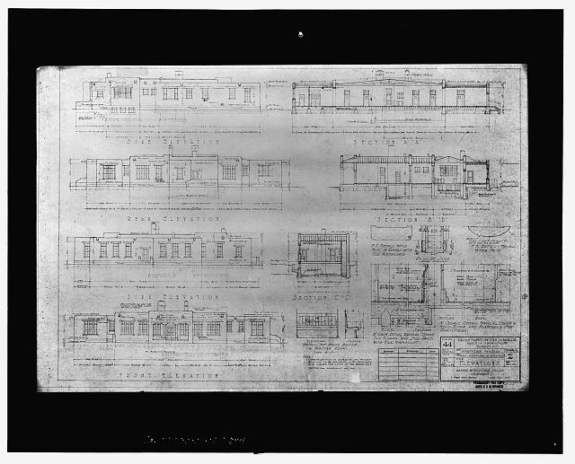 17.  Photocopy of architectural drawing (from Albuquerque Area Indian Health Service, Division of Health Facilities, Albuquerque, New Mexico) Mayers, Murray, and Phillip, Architects, New York, NY, 1934 Elevations - Taos Indian Health Center, 0.3 mile south-southwest of Pueblos Plaza, Taos Pueblo, Taos County, NM