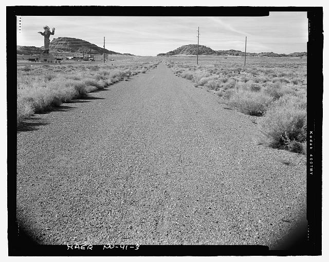Overview of highway and setting to west at east end of the study area - Victory Highway, One Mile Segment West of West Wendover and South of Interstate 80, West Wendover, Elko County, NV