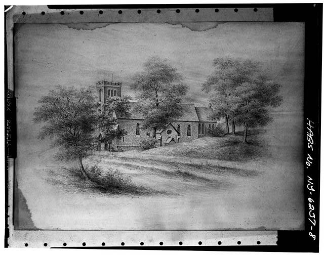 8.  Photocopy of drawing (original in collection of Church of Holy Cross) VIEW SHOWING A.J. DAVIS BELFREY AND NAVE (1844), AND RICHARD UPJOHN CHANCEL (1848) - Church of the Holy Cross, Eighth & Grand Streets, Troy, Rensselaer County, NY