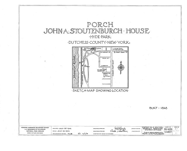 HABS NY,14-HYP,2- (sheet 0 of 1) - John Stoutenburch House (Porch), Hyde Park, Dutchess County, NY