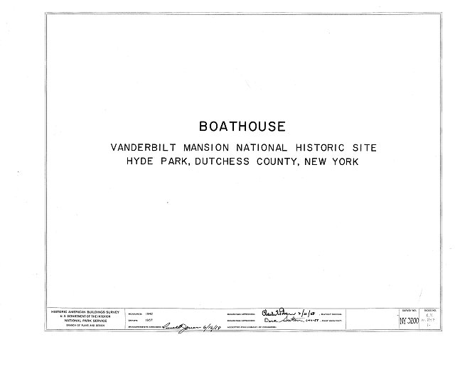 HABS NY,14-HYP,1- (sheet 0 of 2) - Vanderbilt Boathouse, Hyde Park, Dutchess County, NY