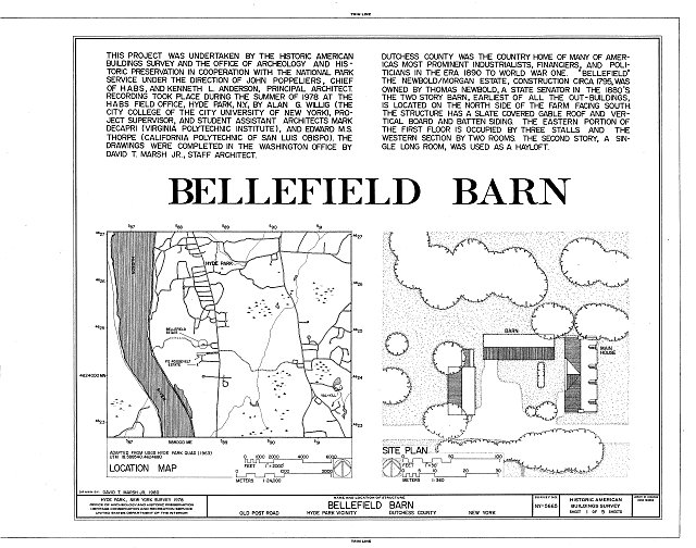 HABS NY,14-HYP,7- (sheet 1 of 5) - Bellefield Barn, Old Post Road, Hyde Park, Dutchess County, NY