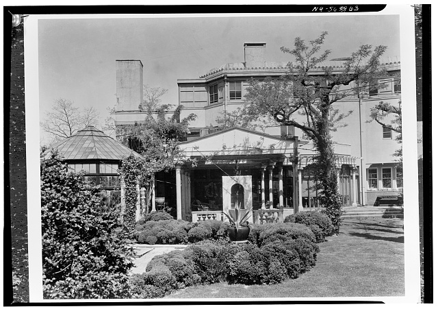 3.  Historic American Buildings Survey, David Aronow, Photographer circa 1924, DETAIL OF FRONT ELEVATION SHOWING PROJECTING VERANDA. - Laurelton Hall, Laurel Hollow & Ridge Roads, Oyster Bay, Nassau County, NY
