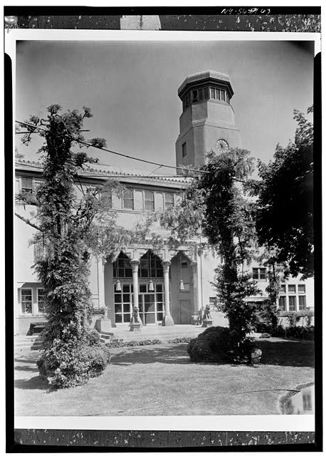 5.  Historic American Buildings Survey, David Aronow, Photographer circa 1924, DETAIL OF ENTRANCE AND BELLTOWER ON FRONT ELEVATION. - Laurelton Hall, Laurel Hollow & Ridge Roads, Oyster Bay, Nassau County, NY