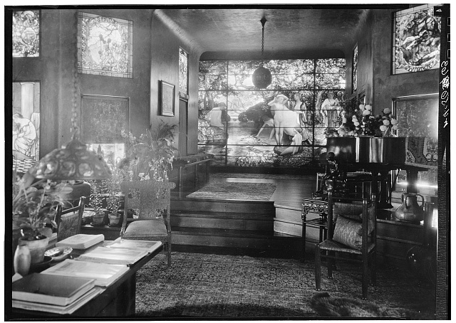 8.  Historic American Buildings Survey, David Aronow, Photographer circa 1924, LIVING ROOM WITH TIFFANY STAINED GLASS WINDOWS INCLUDING 'FEEDING THE FLAMINGOES,' 'THE FOUR SEASONS,' AND 'THE BATHERS'. - Laurelton Hall, Laurel Hollow & Ridge Roads, Oyster Bay, Nassau County, NY