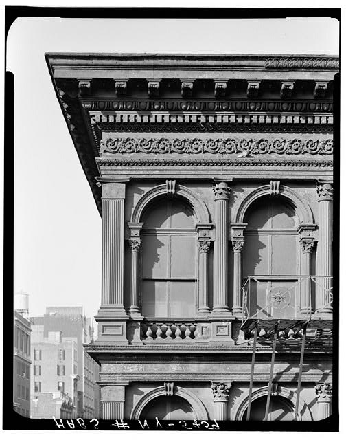 2.  Historic American Buildings Survey, Cervin Robinson, Photographer March 1967, CORNICE AND TOP FLOOR DETAIL FROM SOUTH. - E. V. Haughwout & Company Building, 488-492 Broadway, New York, New York County, NY